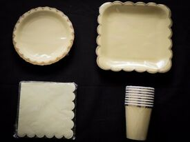 Tableware party pack. Elegant chic yellow & gold paper cups, plates, napkins. Wedding, baby shower