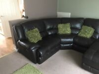 Leather corner sofa with recliner and chaise for sale