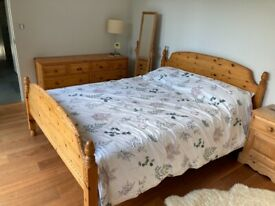 Kingsize pine bed and matching chest of drawers