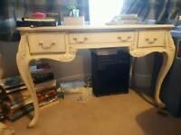 Cream wooden vanity table / desk