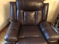 3 + 1 + 1 brown leather reclining sofa