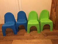Kids plastic chairs x 4, 2 green 2 blue