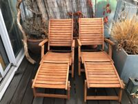 2 x Wood Deck Chairs, with covers and matching table - excellent condition - £50