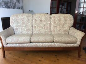 3 seater sofa. Cream floral pattern with solid wood frame.