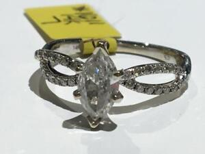 #1611 14K WHITE GOLD MARQUISE DIAMOND ENGAGEMENT RING *SIZE 7* APPRAISED AT $4100.00 SELLING FOR ONLY $1295.00!!