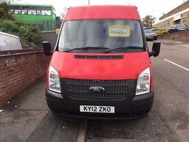 FORD TRANSIT LWB VAN T300 100BHP 2012/12REG EURO 5 £4500 NO VAT