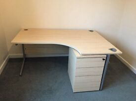 Office desk with separate triple draw unit