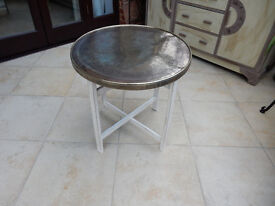 Antique Shabby Chic Folding Side Table with Brass Covered Top