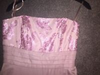 Rose Pink BridesMaid Prom Dress Next Size 10 with Rose Embroidery.
