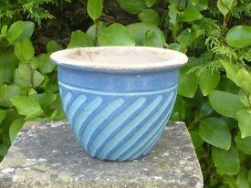 Unusual Small Blue & Light Blue Swirl Pattern Ceramic Planter Garden Pot 13cm Tall