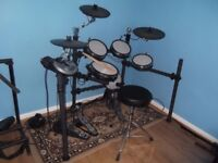 WHD 517-DX Electronic Drum Kit with Mapex double kick pedal, stool and sticks.