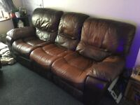 Double Reclining 3 seater sofa and reclining rocking chair matching