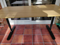 Ikea Bekant office desk, oak veneer/black 160x80 cm, adjustable legs, with cable management