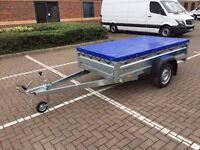 "Car box trailer Faro Tractus 7'7"" x 4'1"" and flat cover"