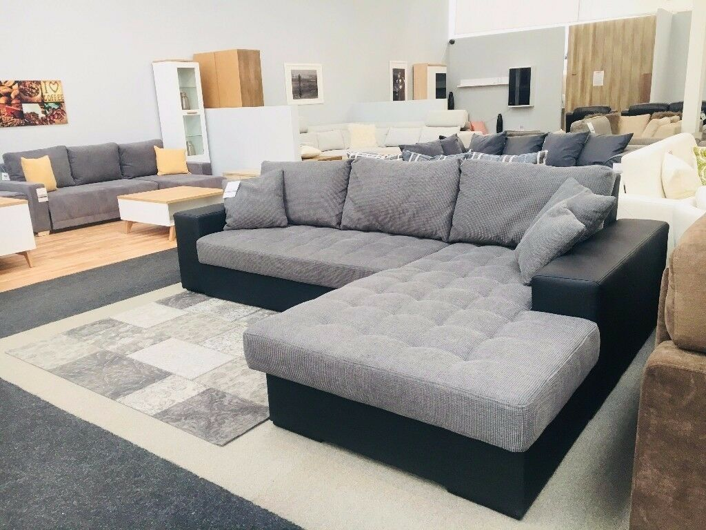 Modern Corner Sofa Bed With Storage Grey Fabric And Black Artificial Leather House Clearance