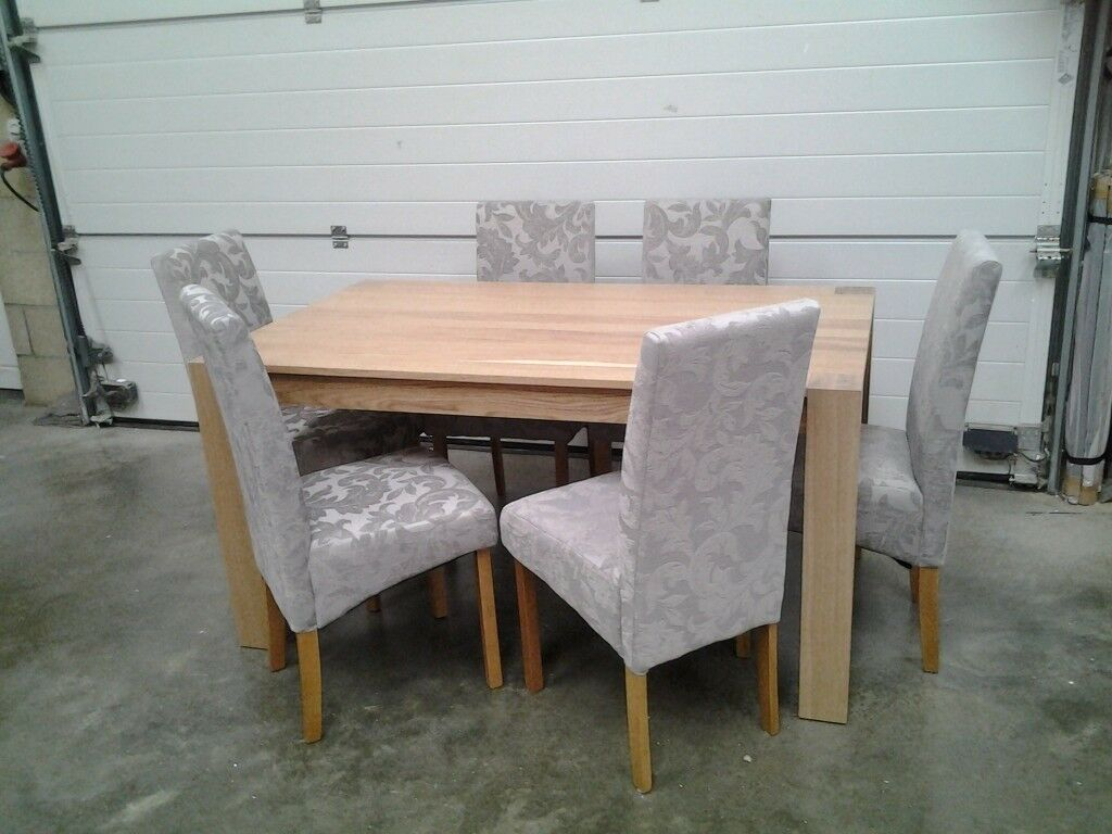 Dining Table And 6 Damask Grey Fabric Chairs Can Deliver