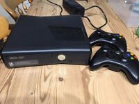 Xbox 360S 250GB console, 2 wireless controllers, 10 games, Disney Infinity, Skylanders and figures