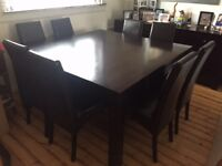 8-seater dining table & 8 high back leather chairs