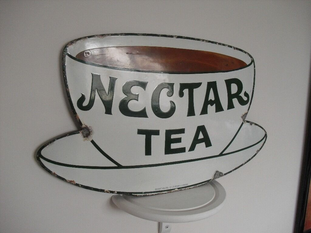 Old Nectar Tea Enamel Sign, Advertising, Metal Shop/BR Railway Station ,Lyons,Liptons,Brooke Bond