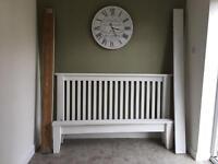 Shabby chic white oak king bed frame