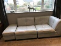 Grey leather corner unit