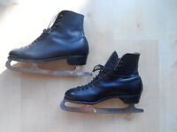 RETRO 60's SIMLAM POPULAR BLACK LEATHER MENS ICE SKATES SIZE 9