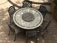 Qualitiy HARTMAN - Large Stone Garden Table & 6 Aluminium Chairs + Cushions *Delivery may be poss*