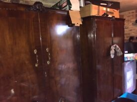 2 solid old wardrobes