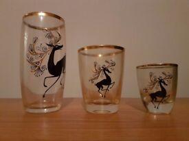 22 carat gold ornate decorated glass tumblers - horse print - gold rim