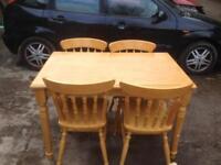 Farmhouse table & 4 pine chairs