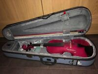 Excellent condition glitter pink Stentor 4/4 Size Violin with Carry Case & Rosin
