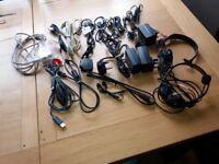 Bundle of computer wires, earphones, headsets, chargers