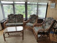 Cane suite and coffee table