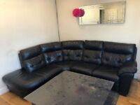 BLACK LEATHER CORNER SOFA FOR SALE MUST GO TODAY - CHEAP DELIVERY - £245 ONO