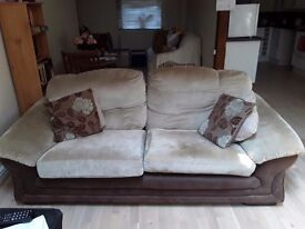 3 seater cream and brown sofa with 4 cushions £50 ono need gone ASAP