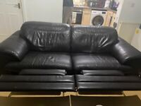 Dark Brown Leather 3 Seater Sofa and Arm Chair (recliner)