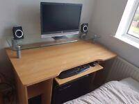 Computer Desk - with glass tier shelf