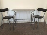 Tempered glass table with 2 chairs