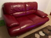 2 Seat leather sofa - Red