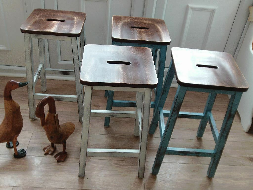 Shabby Chic Breakfast Bar / Lab Stools x 4 | in Leicester ...