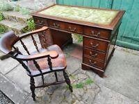 Vintage Green Leather Top Captains Writing Pedestal Desk and Antique Oak Captains Chair
