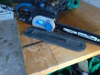 Chainsaw electric Mac Pro with safty brake and chain guard long lead vgc gwo