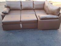 Lovely brand new brown leather corner sofa bed with storage. Can deliver