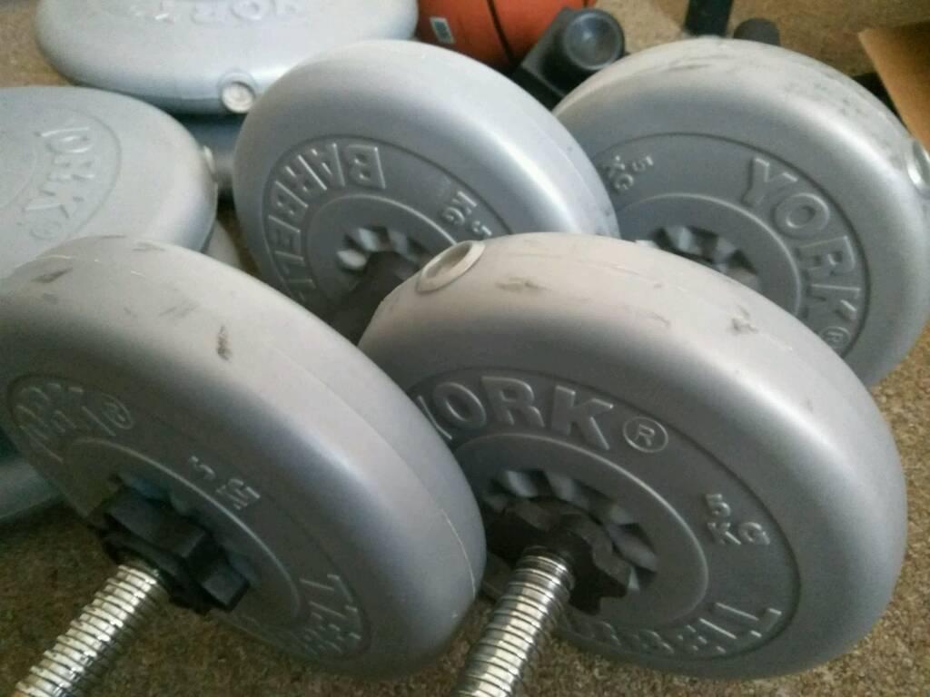 York Dumbbells 30kg each + freebies (basketball, chin up bar, bench)