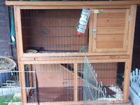 Rabbit + Hutch+ Indoor cage+ Double outdoor run
