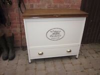 Vintage Shabby Chic, Ivory Wooden sideboard/ottoman/storage Chest, French style