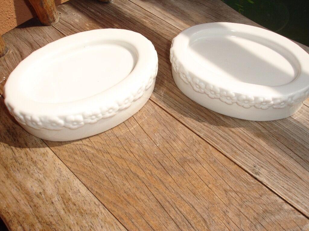 2 Ceramic Soap Dishes