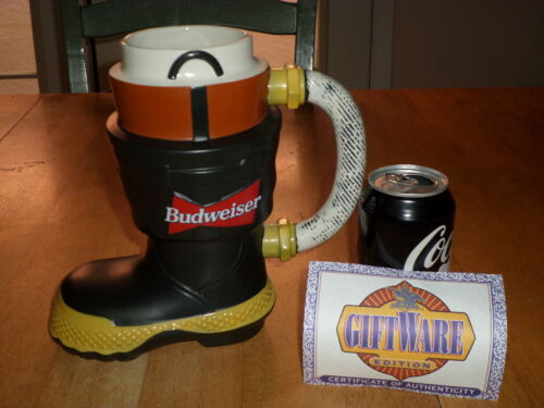 BUDWEISER BEER - FIRE DEPARTMENT FIRE BOOT, Handcrafted Ceramic Beer Stein / Mug