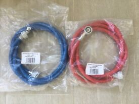 Red and blue 2.5 meter washing machine hose - new