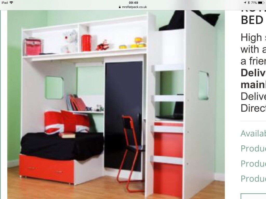 Large High Sleeper Bed With Futon Drawer Wardrobe And Desk